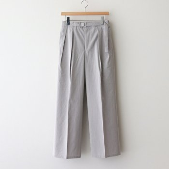 WASHED FINX RIPSTOP CHAMBRAY BELTET PANTS #LIGHT GRAY CHAMBRAY [A21SP07FL] _ AURALEE | オーラリー