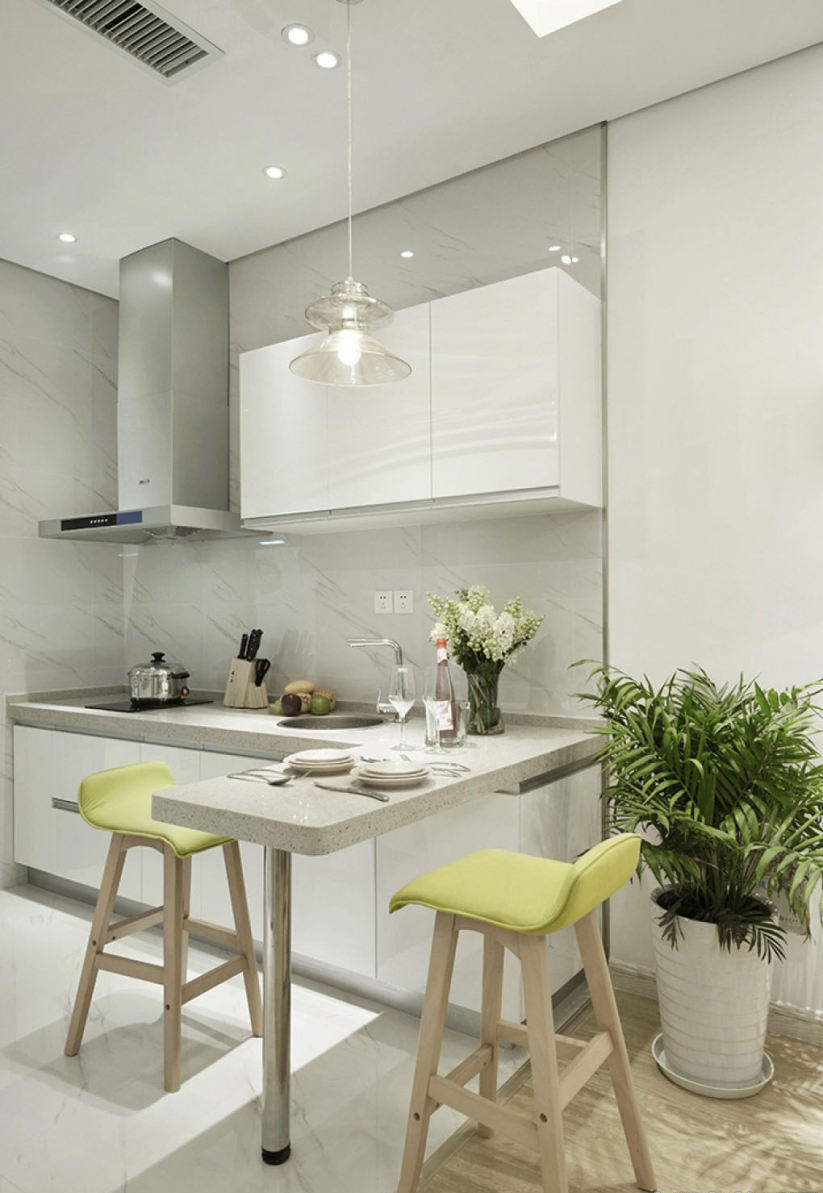 small kitchen bar antique grey cabinets 简约小户型吧台式小厨房装修图片 小厨房吧