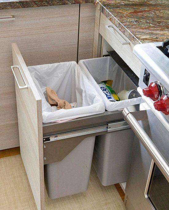 kitchen trash bin ceramic tile 国外厨房垃圾桶设计 厨房垃圾桶