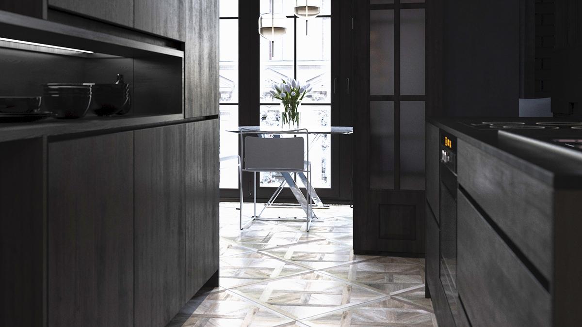 modern kitchen art red light shades 黑色现代风格艺术情怀厨房装修效果图 现代厨房艺术