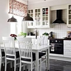 Kitchen Dinettes Compact Kitchens Nz 黑白色搭配素妆简欧厨房餐桌椅装修效果图 厨房餐桌椅