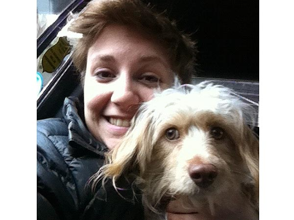 Lena Dunham and dog