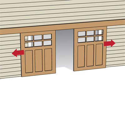 illustration of sliding garage door