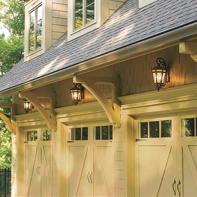 garage with accessory lantern lights