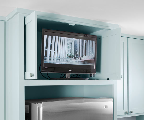 TV in or out of Sight  Kitchen Gets a Fresh Slant for