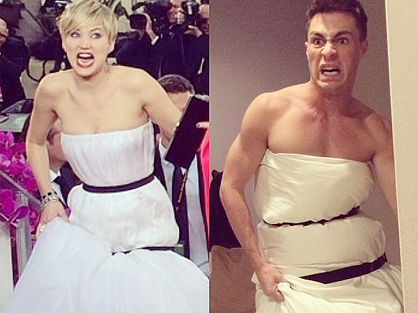 Teen Wolf's Colton Haynes and other mimic Jennifer Lawrence's Golden Globe Dress