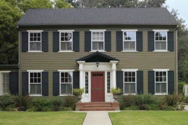 colonial colors exterior paint houses homes revival door exteriors shutters dark siding front schemes combination resolution roof woodsy behr scheme