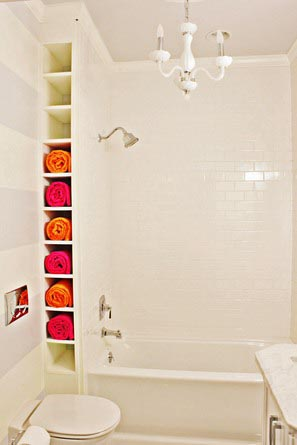 reader bath remodel with towel storage shelves built in behind shower wall, top pins on This Old House Pinterest profile 2013