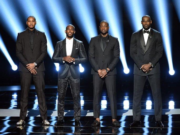 LeBron James, Dwyane Wade, Carmelo Anthony and Chris Paul speak at ESPYs