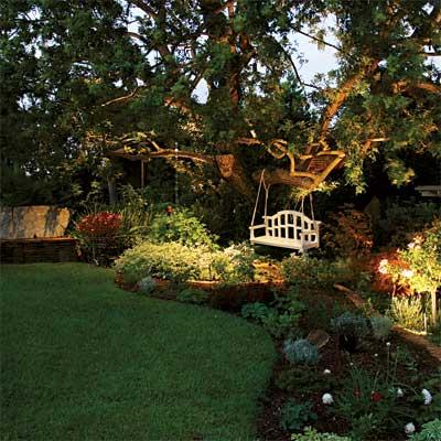 lighting design inviting backyard