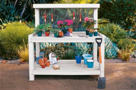 a potting bench for the garden
