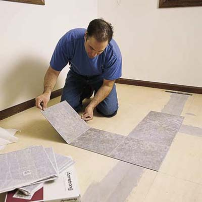 Start tiling at the room's center | How to Lay a Vinyl Tile Floor | This Old House