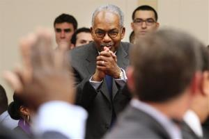 Ernie Green, an original member of the Little Rock Nine, stands to be recognized on Capitol Hill Tuesday.