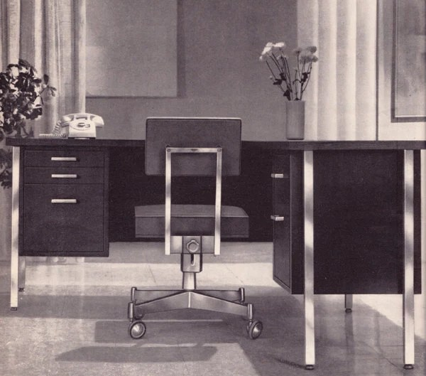 Vintage ad Cole Steel office furniture early 1960s modern desk chair Mad Men - Free U.S. shipping