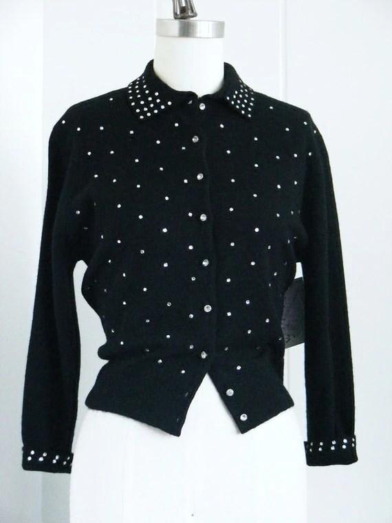 1950's Vintage Schiaparelli Black Rhinestone Sweater M/L
