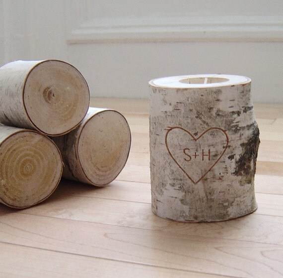 personalized natural white birch candle holder - carved heart & initials