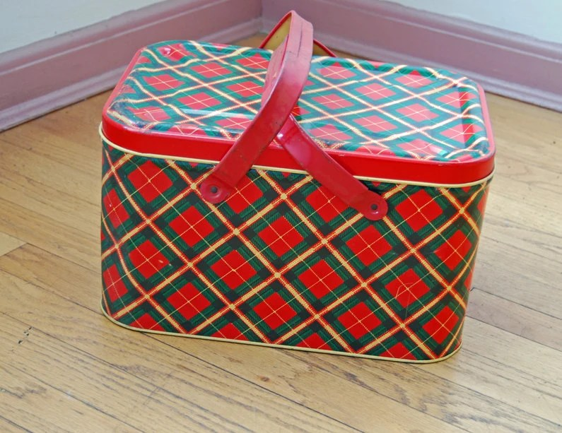 Red Plaid Picnic Basket Tin