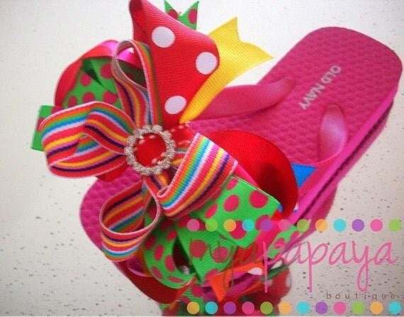 Boutique Bow Flip Flops Rainbow Candyland