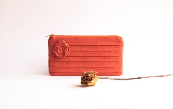 Bright Orange Bridal Wedding Clutch or Bridesmaid Gift, Clutch, Pouch, Purse - Romantic Rose pleats by Lolos