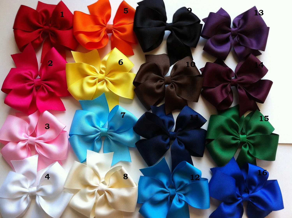Big hair bows -  Girl hair bow - Toddler hair bows. You can choose colors. Set of 12