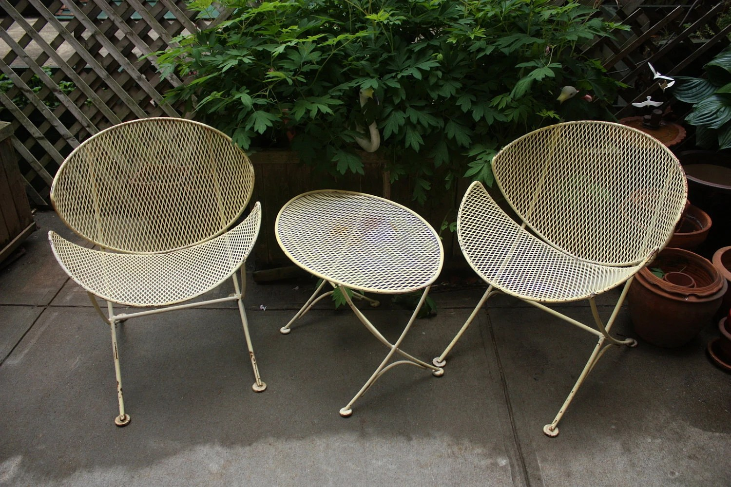 Iron Patio Chairs Vtg Mid Century Salterini Quotorange Slice Quot Iron Patio
