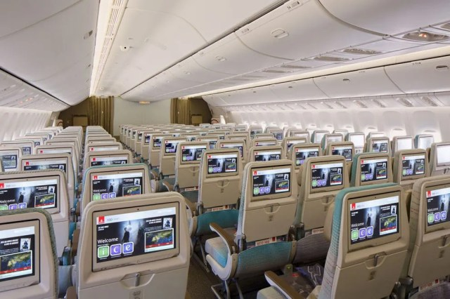 The Economy Class cabin on the new Emirates Boeing 777-300 ER
