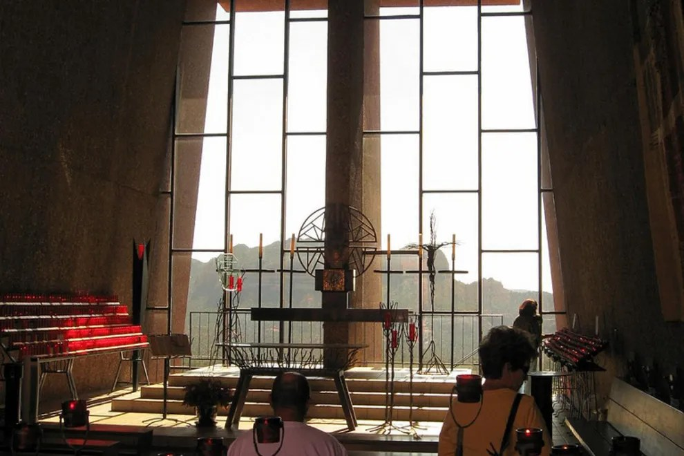 Image result for photos inside Holy Cross Chapel in Sedona