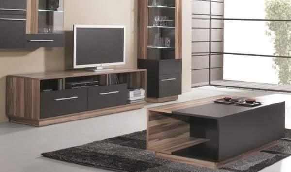 pack meuble tv table basse black