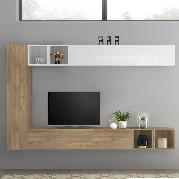 meuble tv suspendu blanc laque et couleur chene lizzano