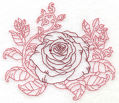 redwork single rose embroidery