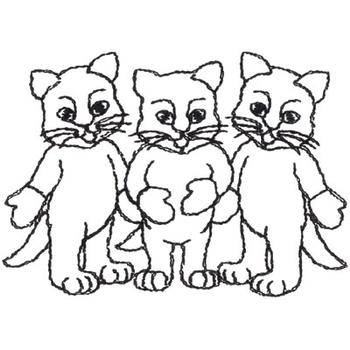 Animals Embroidery Design: Three Little Kittens Outline