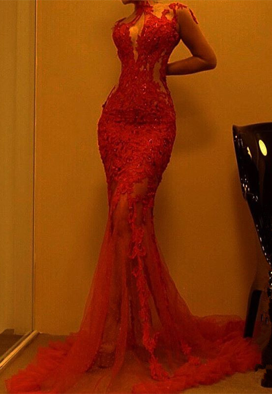Gorgeous Red Mermaid Evening Dress | Lace Prom Dress On Sale