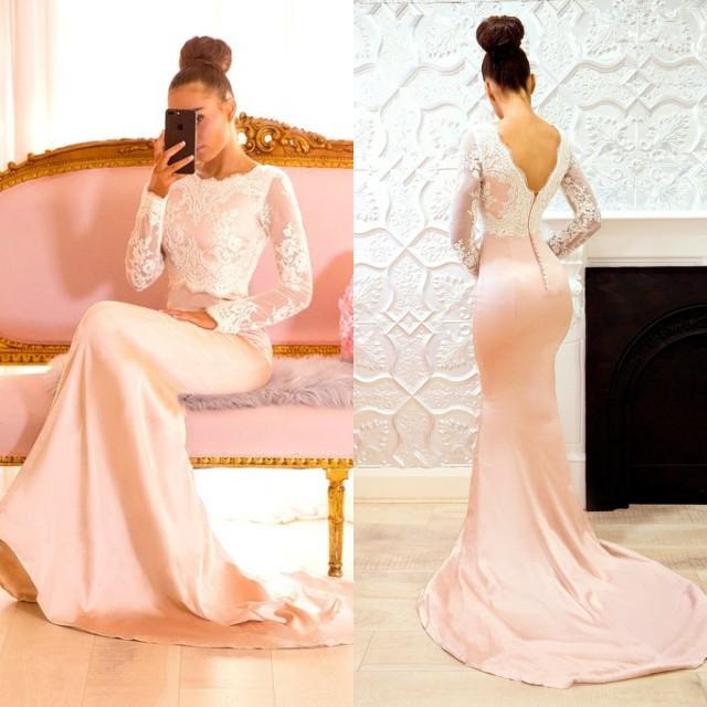 ELegantes Brautjungfernkleid Langarmlig , Meerjungfrau Brautjungfer Kleidung Bodenlang