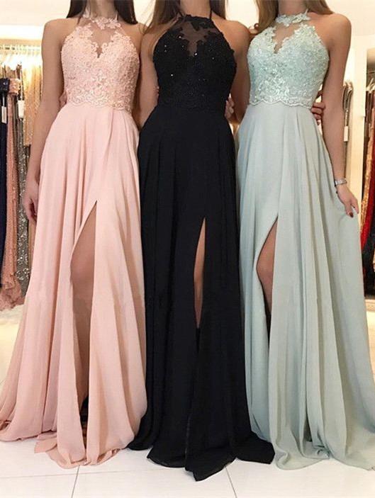 Elegant Halter Lace Evening Dress | 2021 Long Chiffon Prom Dress With Slit