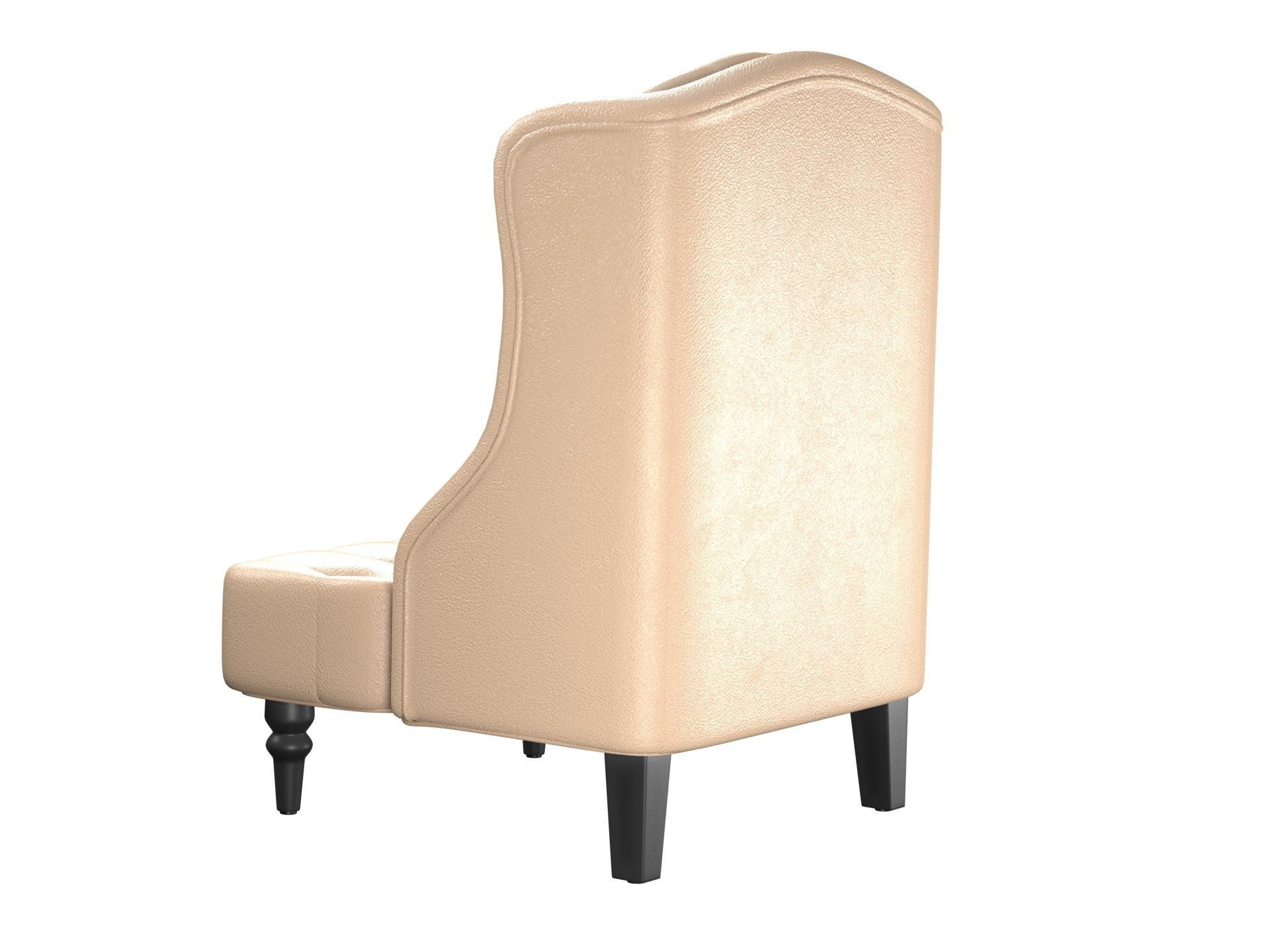 Wingback Tufted Chair Tall Wingback Tufted Leather Accent Chair With Nail Head Beige 3d Model