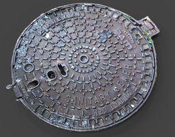 3D model City Manhole Cover VR  AR  lowpoly OBJ FBX MTL