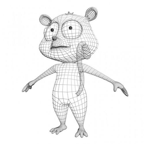 3D model Cartoon Lemure Character Rigged VR / AR / low