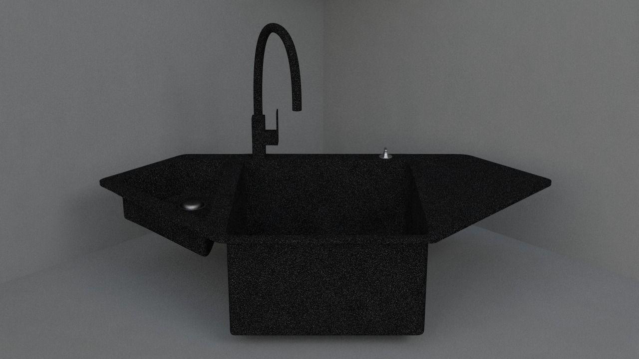 corner kitchen sink canvas art 3d granite cgtrader model obj mtl 3ds fbx c4d dae 1