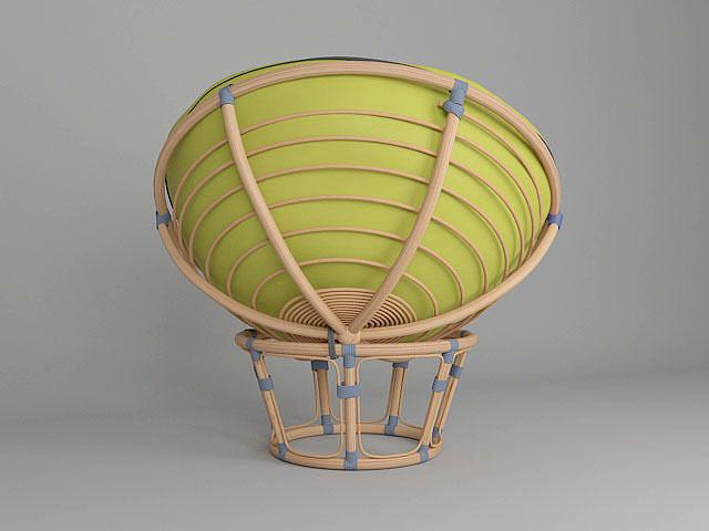 Round wicker chair papasan 3D Model OBJ