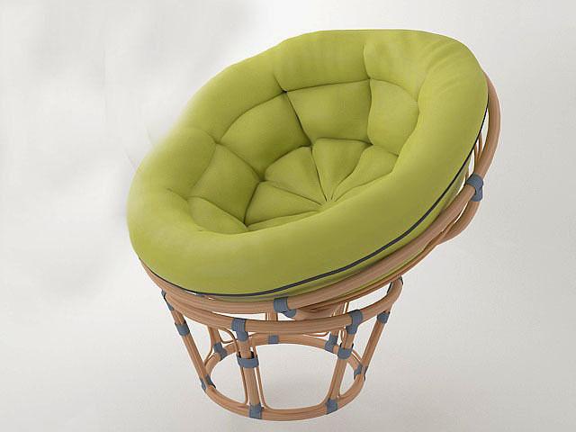 Round wicker chair papasan 3D  CGTrader