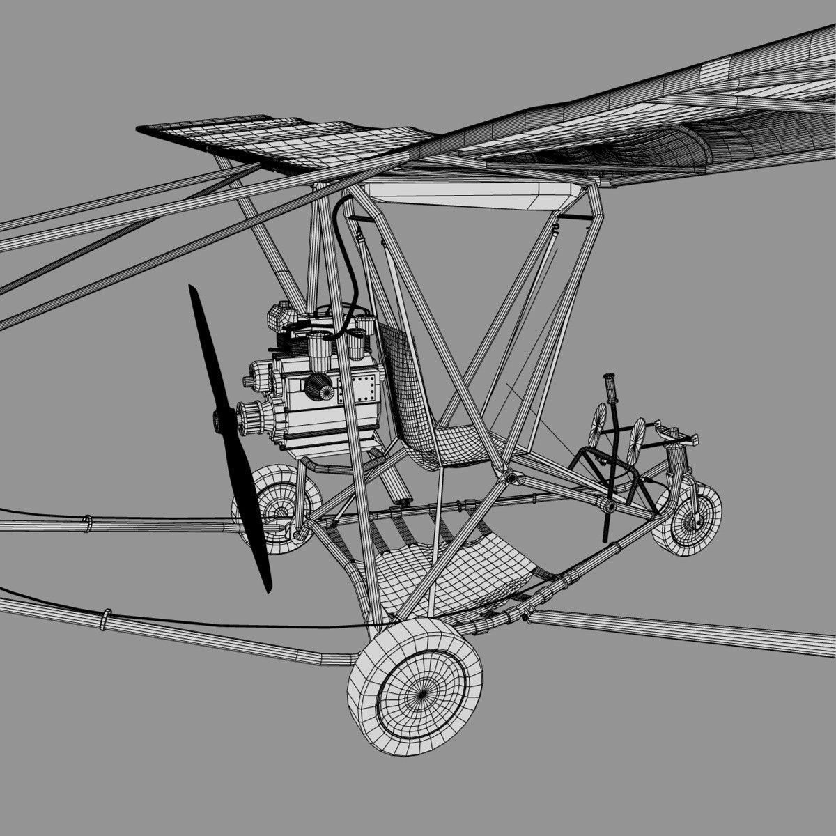 Ultralight Airplane 3d Model 3ds C4d
