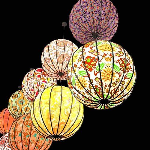 Round paper lanterns 3D  CGTrader