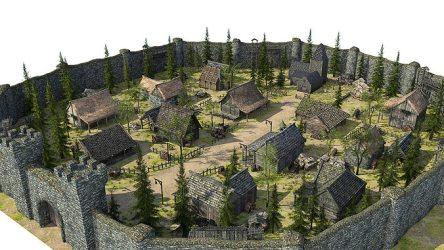 medieval fantasy town 3d low poly vr ar obj fbx c4d cgtrader max models