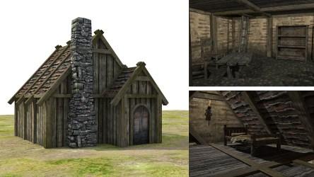 medieval fantasy town 3d poly low vr ar obj fbx c4d cgtrader max models 33k