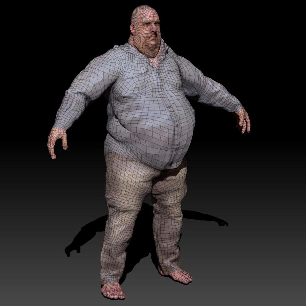 3D model Large Guy VR  AR  lowpoly OBJ 3DS DAE WRL WRZ  CGTradercom