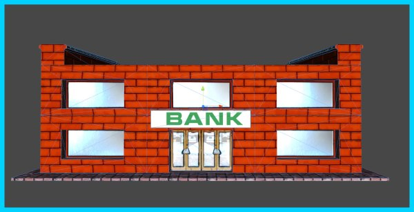 3d Model Small Bank Building Vr Ar Poly Max Obj - Year of