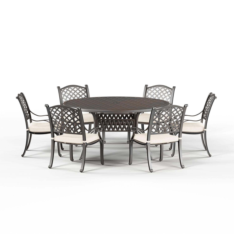 gracewood hollow chang cast aluminum patio dining set black 3d model