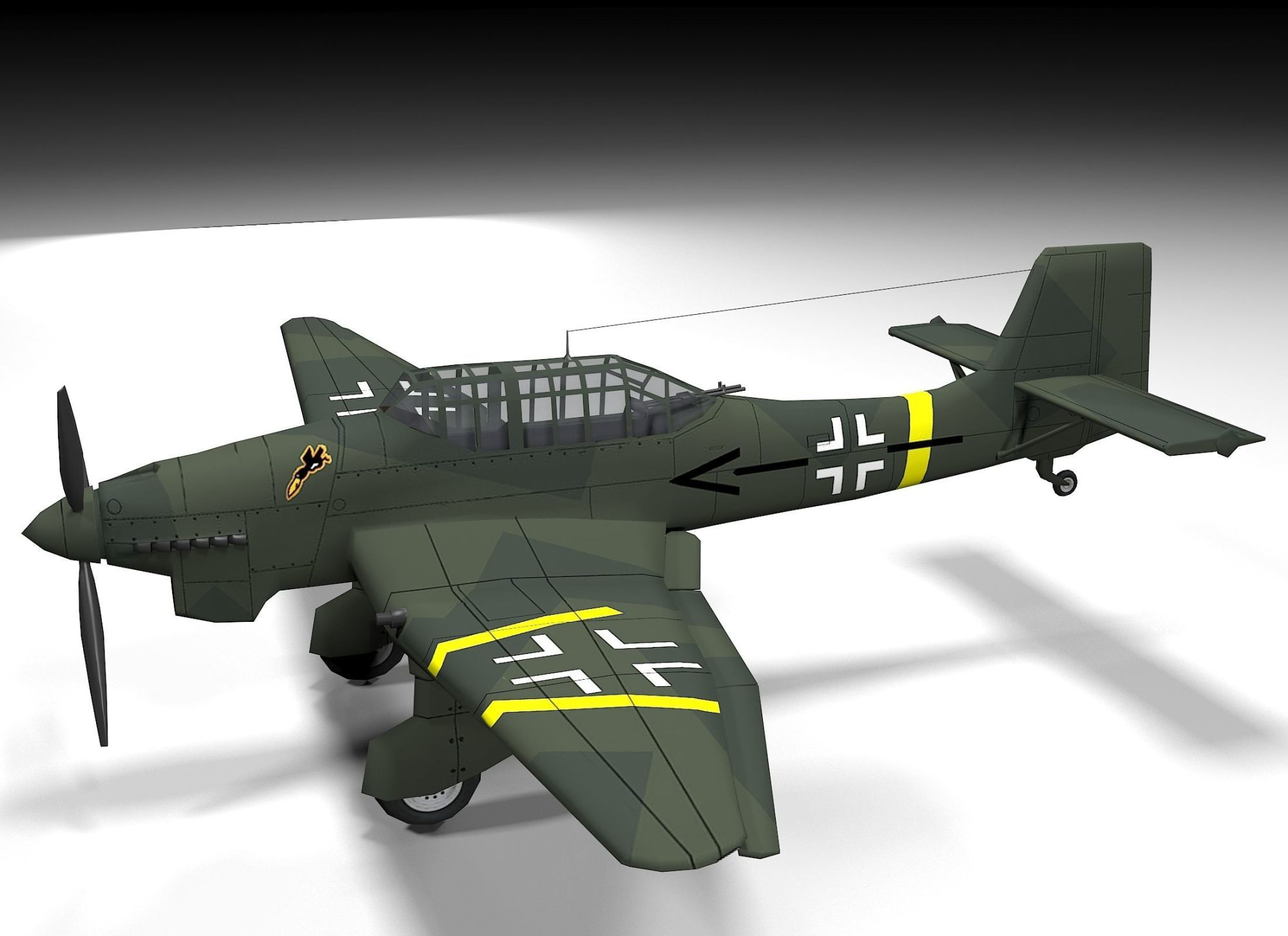 hight resolution of  junkers ju 87 lowpoly 3d model low poly max obj mtl 3ds fbx dae 2