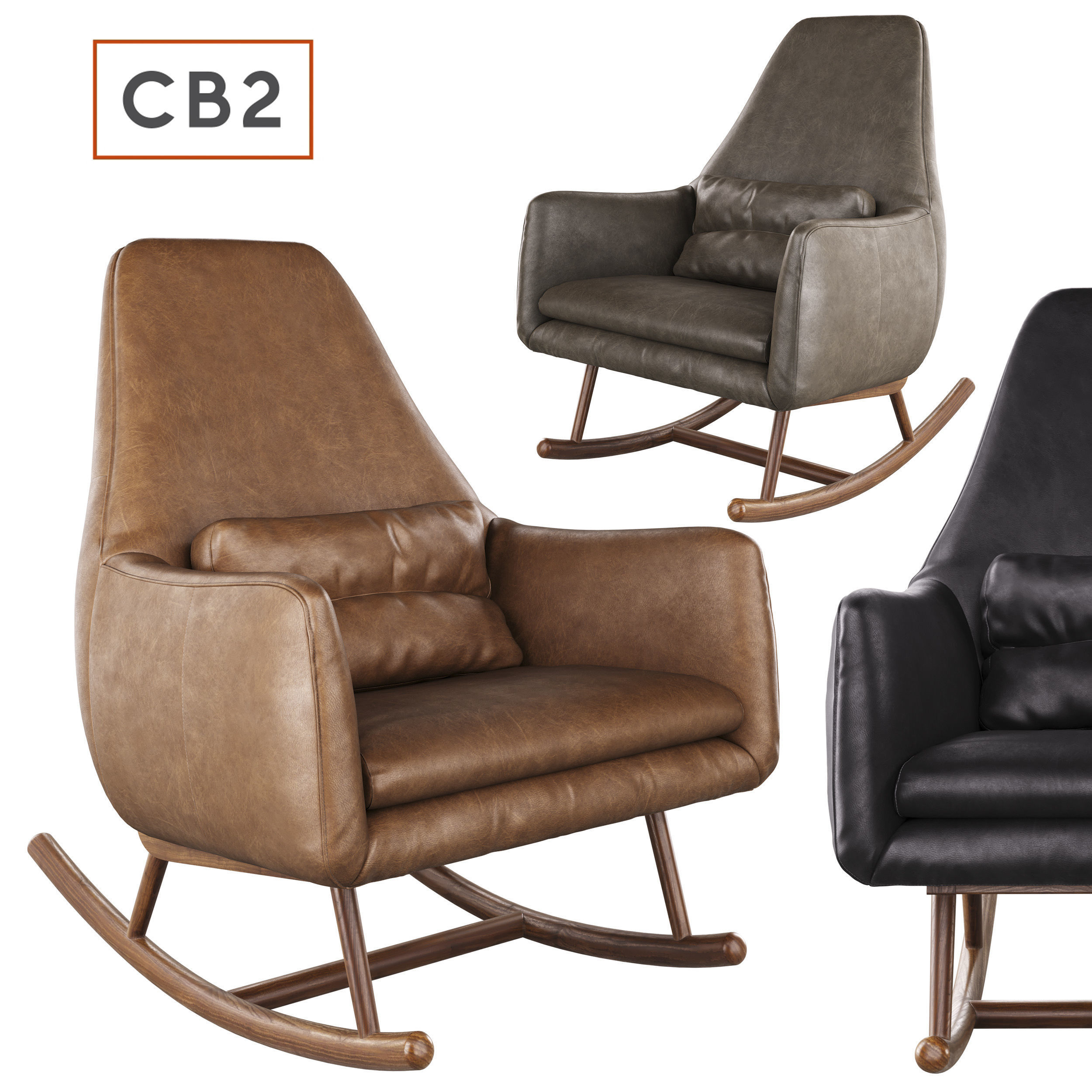 Leather Rocking Chair Cb2 Saic Quantam Leather Rocking Chair 3d Model
