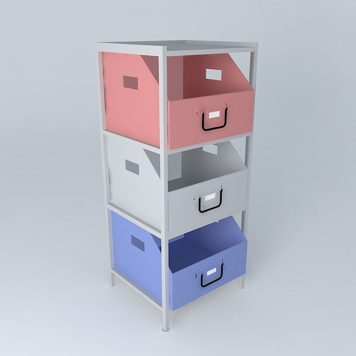 COLORS blue storage cabinet 3D Model MAX OBJ 3DS FBX STL